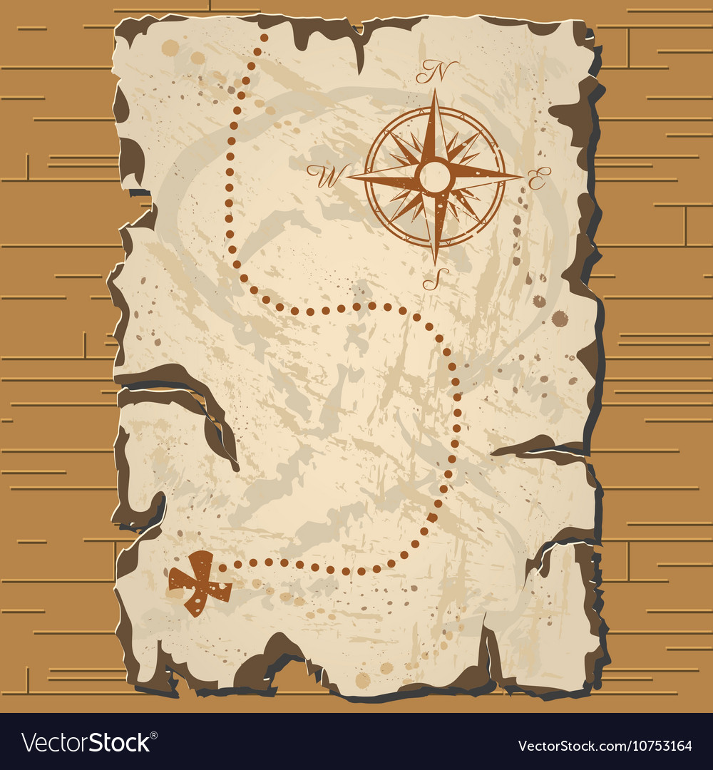 Old Parchament Treasure Map Royalty Free Vector Image