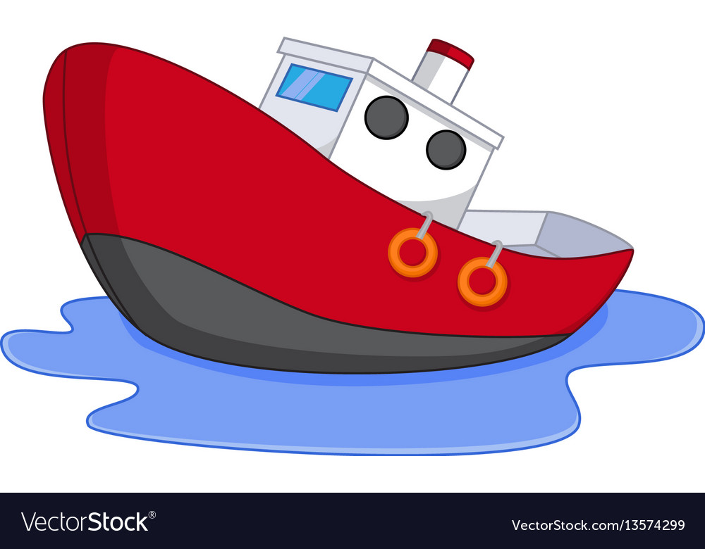 Cartoon Boat With Water Vector Royalty Free Image