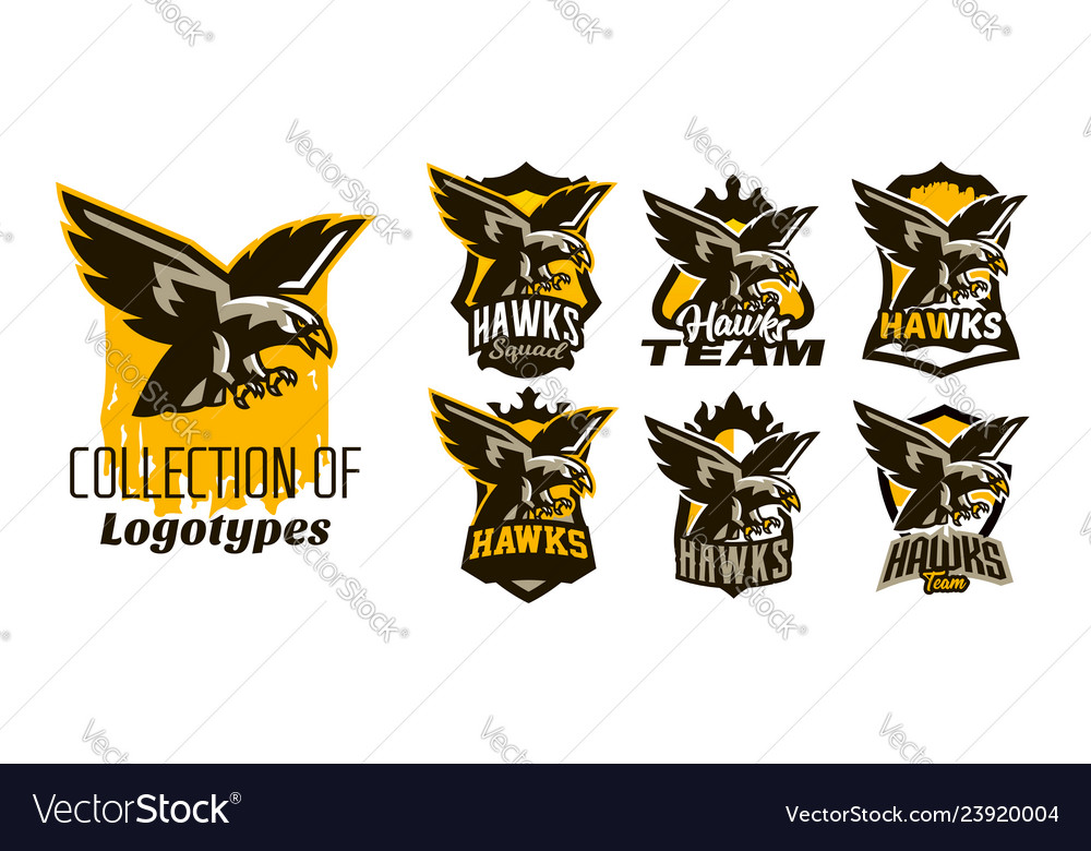 A colorful set of logos stickers emblems of