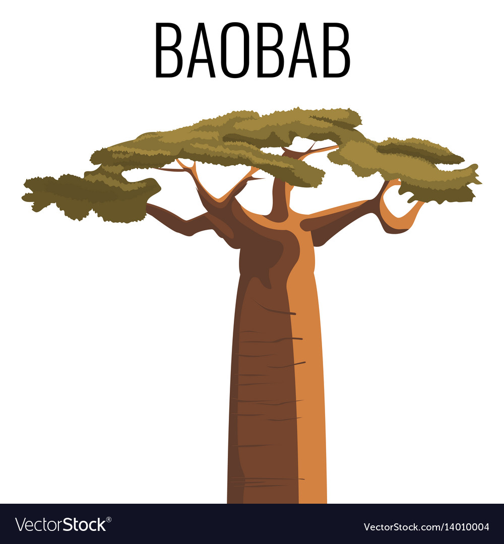 African baobab tree icon emblem with text isolated