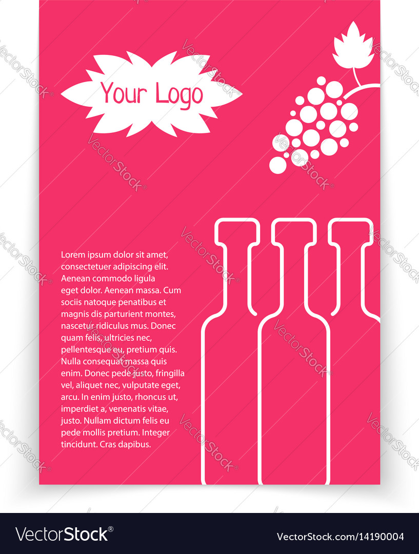 Colored brochure for wine shop vector image
