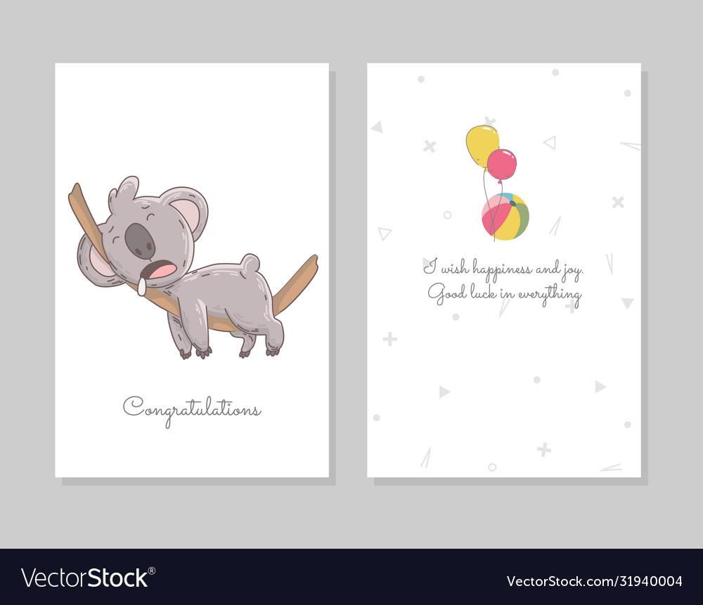 Cute koala sleeps hand drawn doodle poster