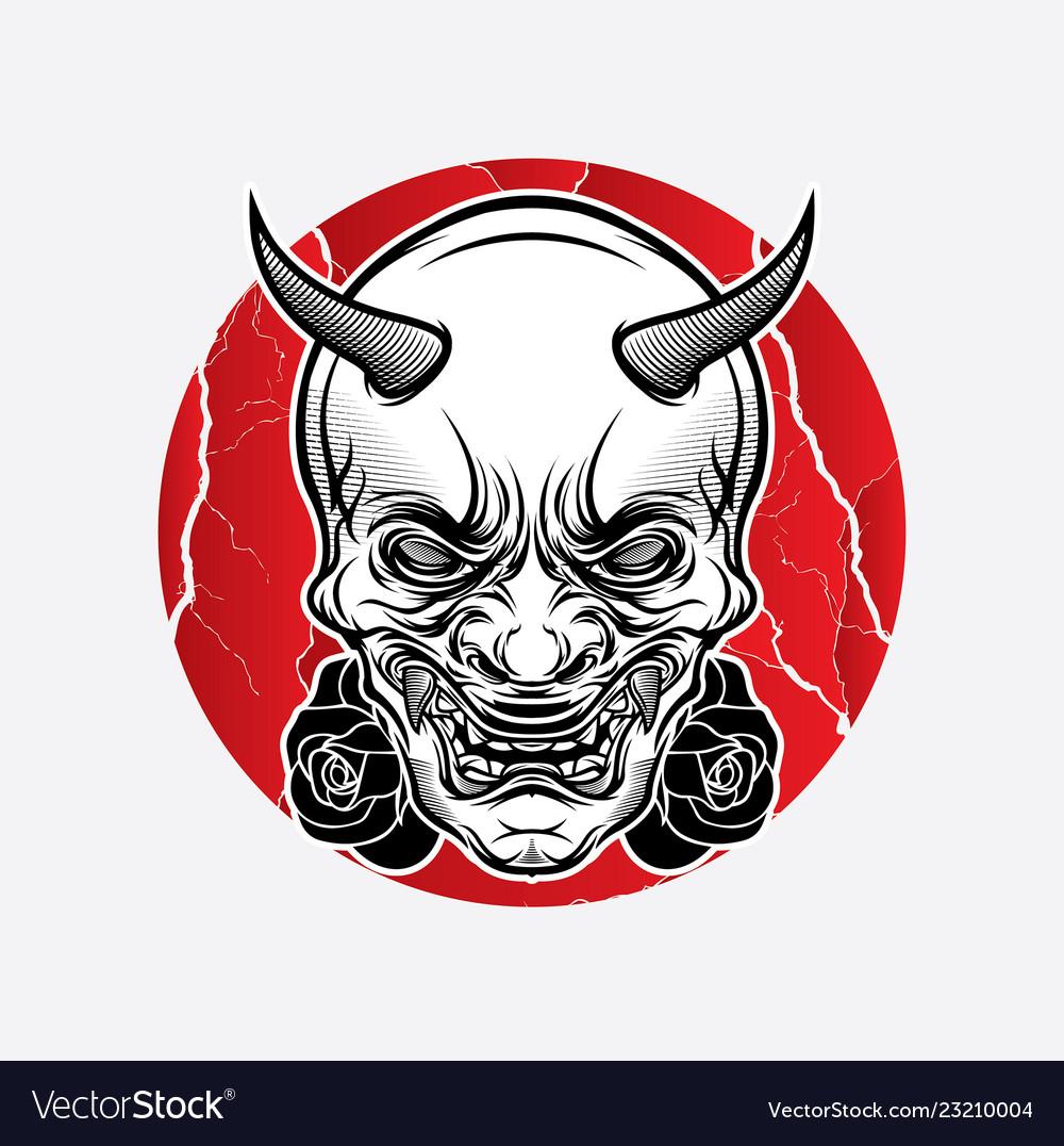 Design Traditional Japanese Mask Tattoo