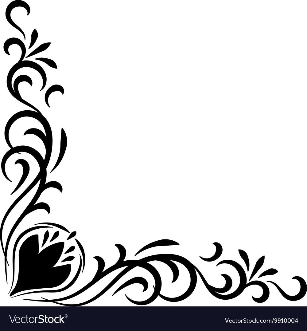 doodle abstract handdrawn flower corner frame vector image vectorstock