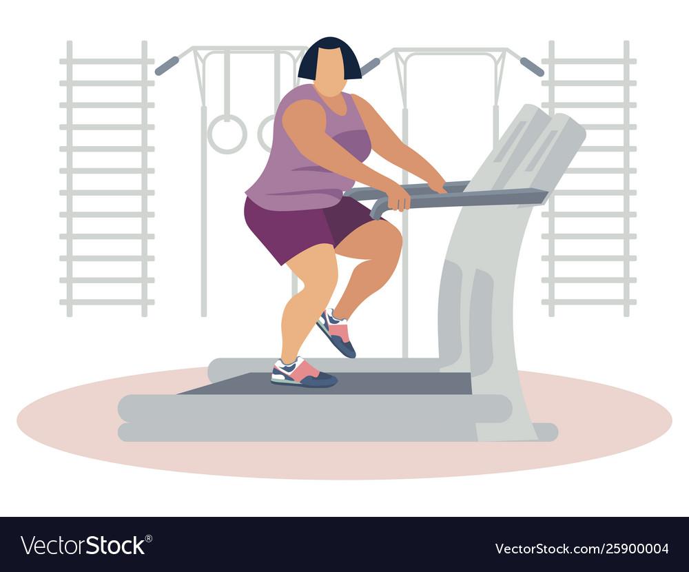 Fat woman jogging on treadmill