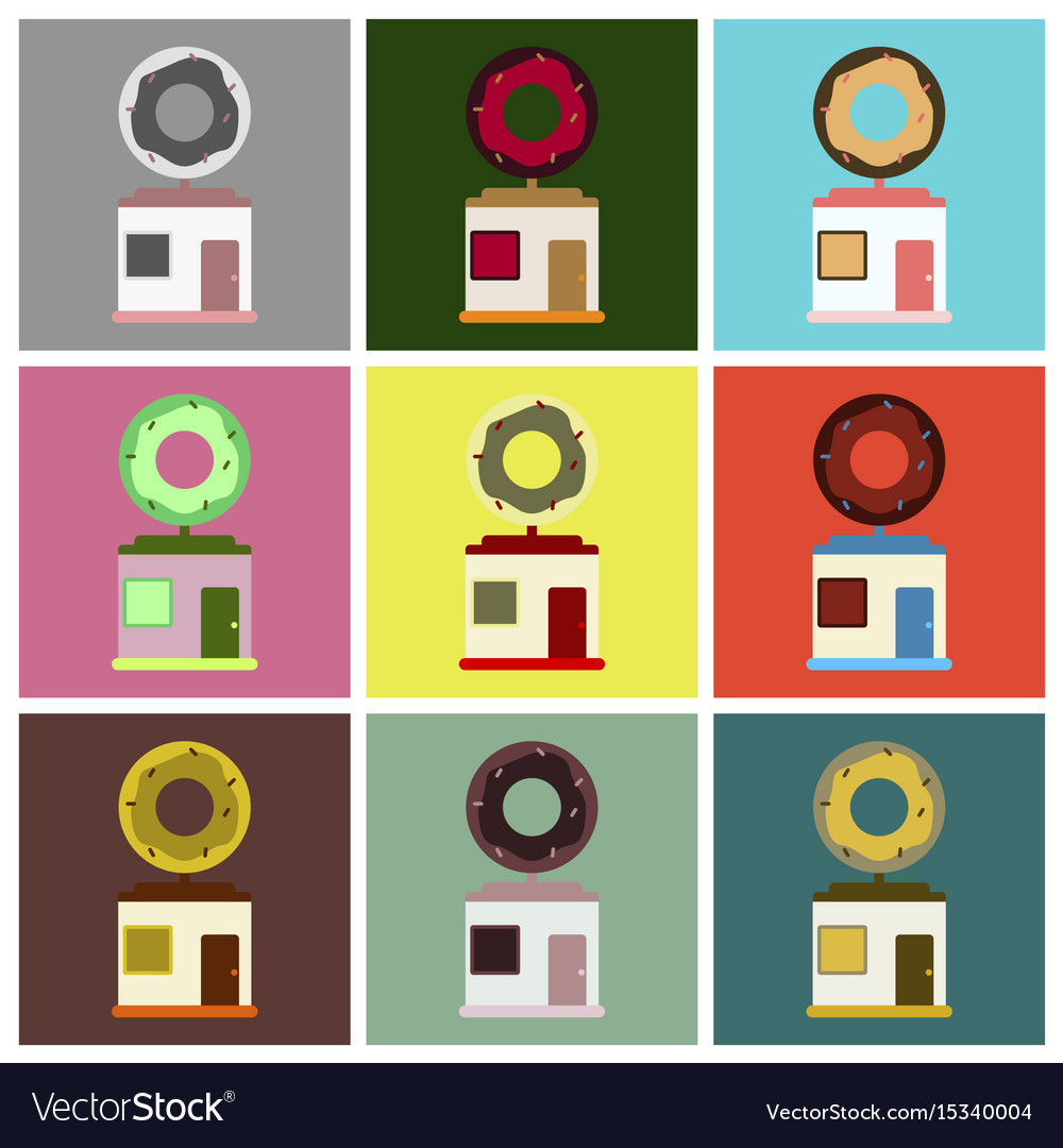 Flat icons set donut shop