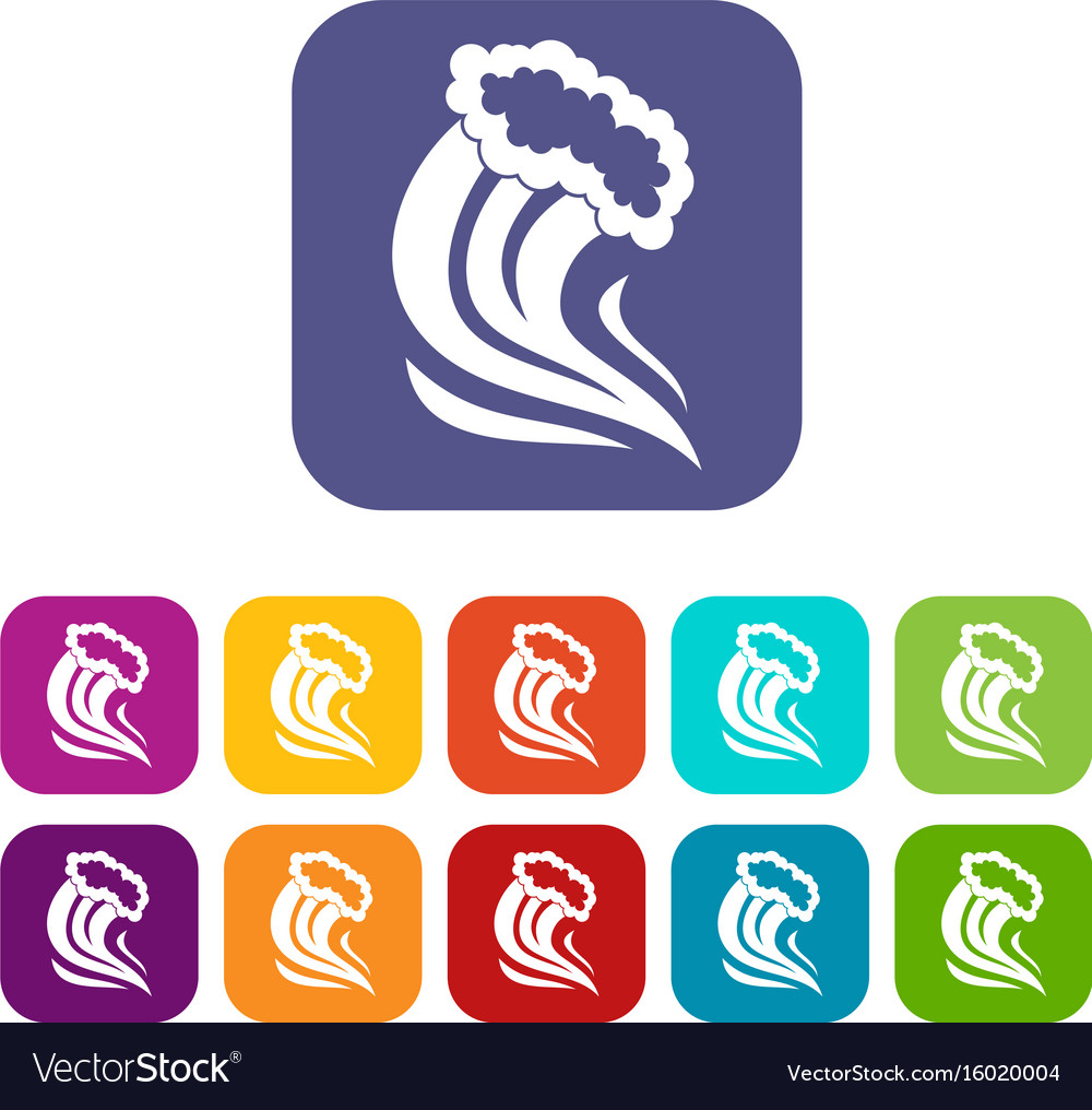 Foamy splash icons set