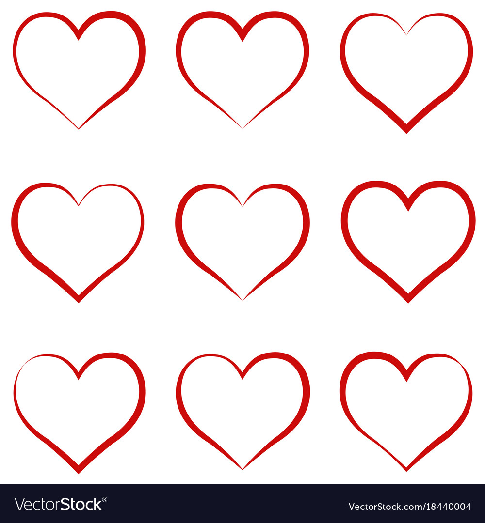 Heart outline red set symbol of the friendship