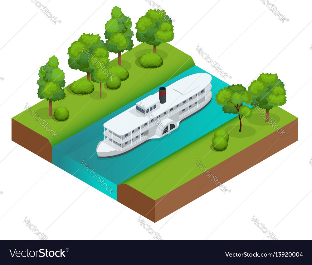 Isometric old paddle steamer ship on the river