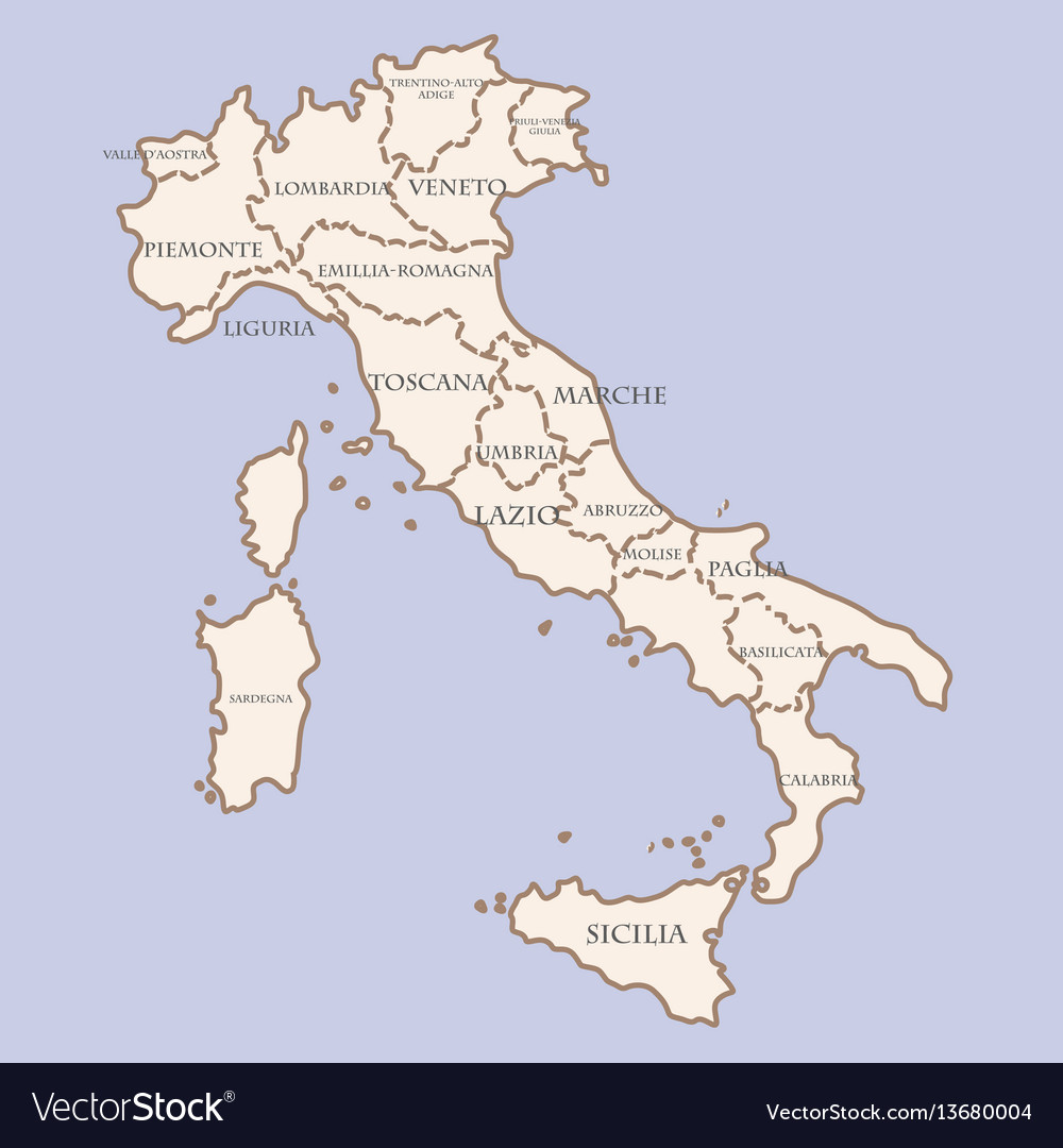 Italy Map With Regions Royalty Free Vector Image