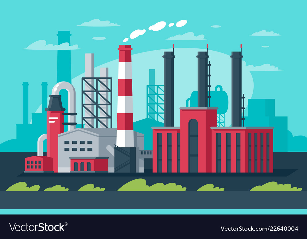 Large big industrial zone in modern manufacturing