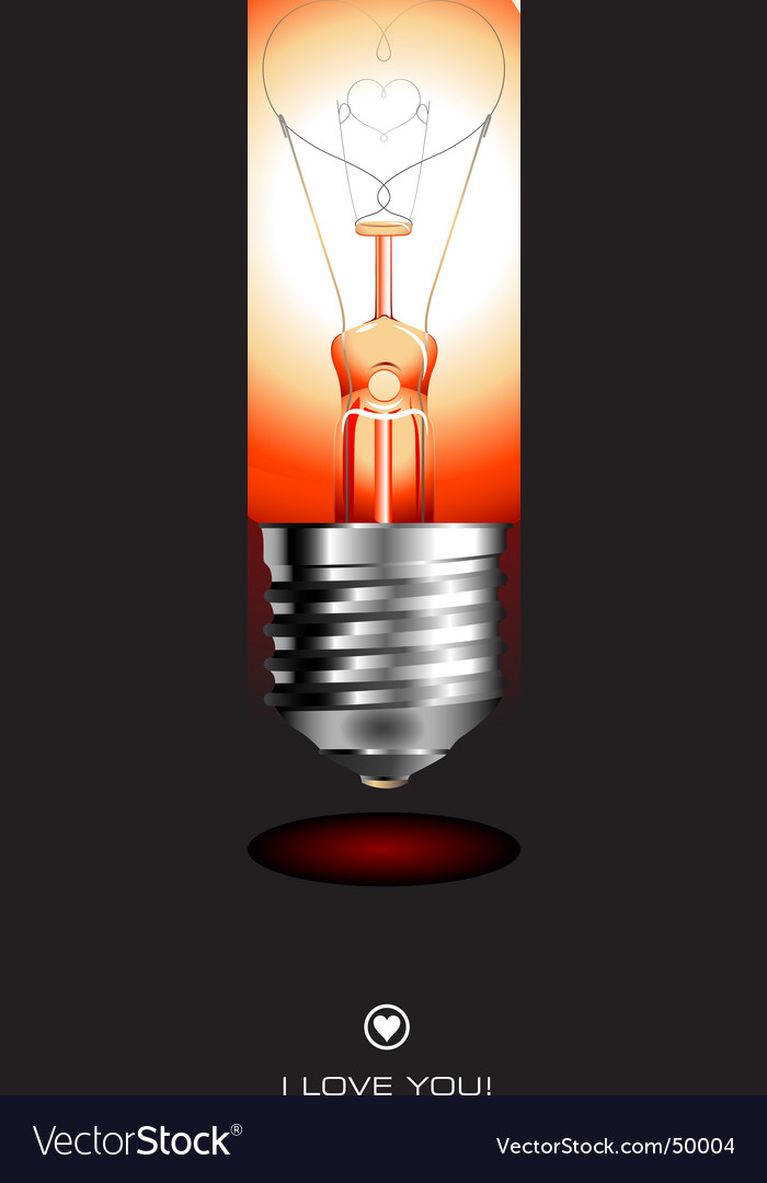 Light bulb with heart vector image