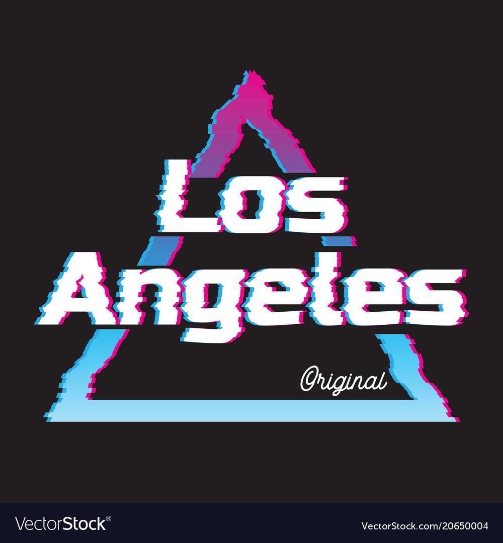Los angeles city glitch effect retro