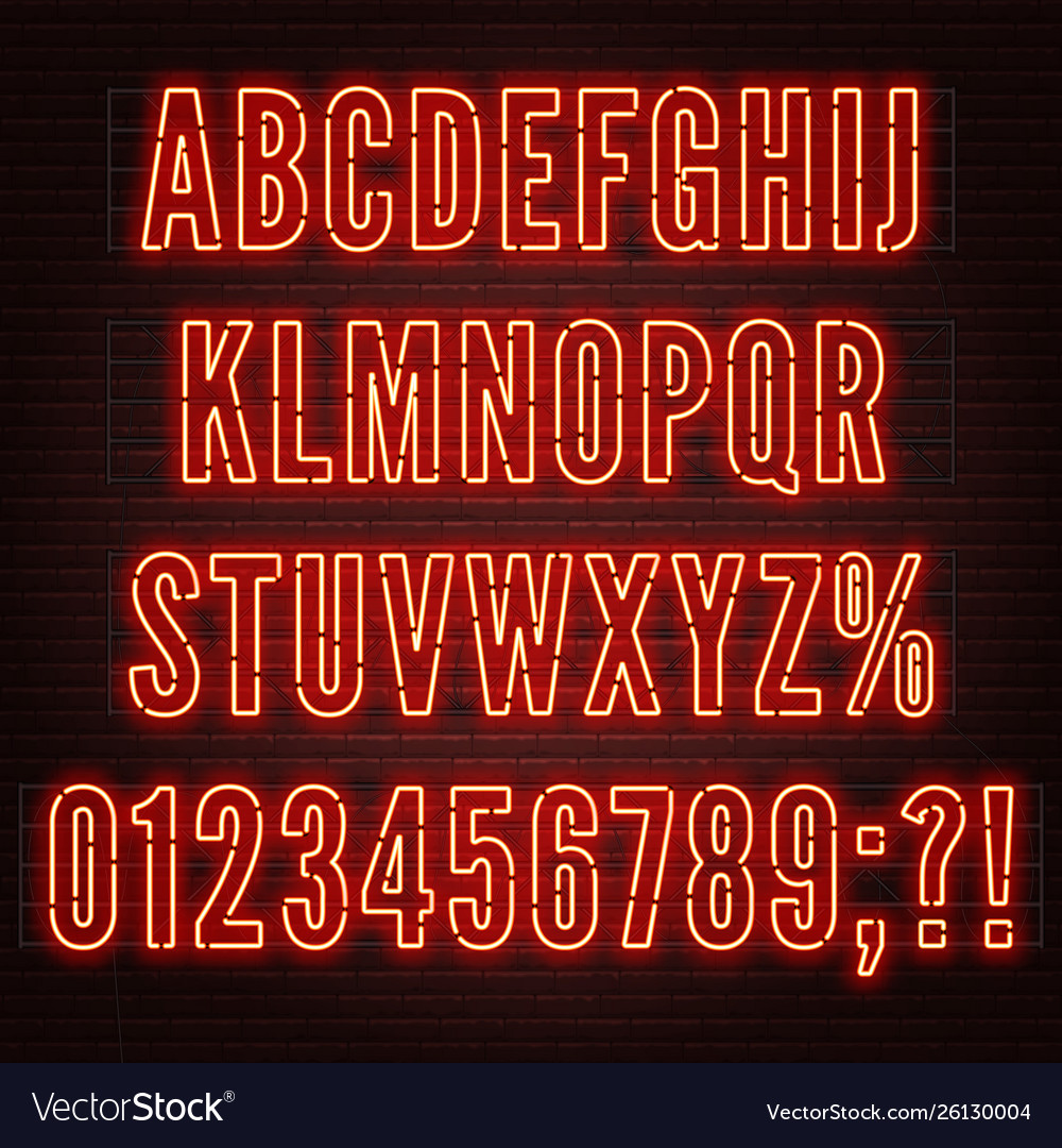 Retro red neon alphabet with numbers on brick