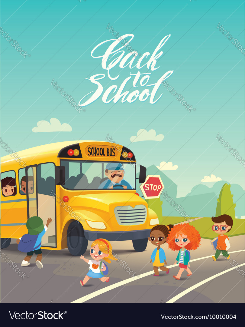 School bus traffic stop Back-To-School Safety vector image