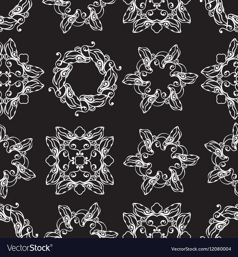 Seamless pattern with white decoratove round line