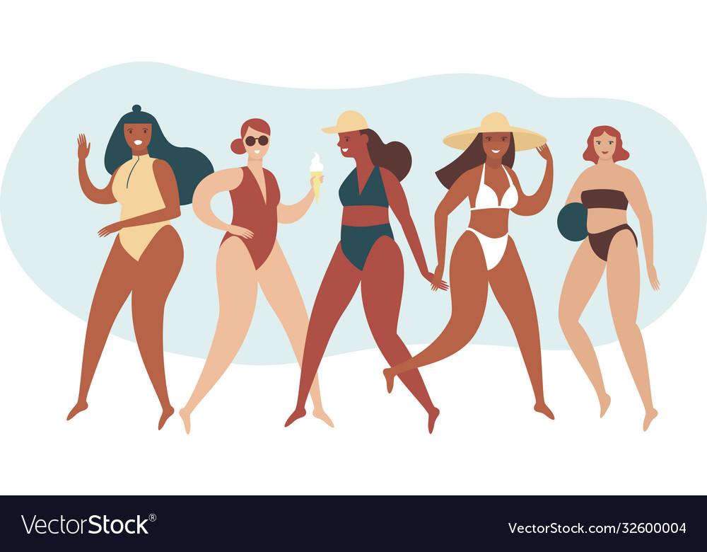 Various body positive girls wearing swimwear