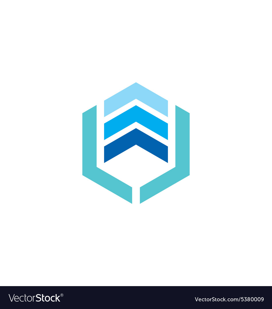 Abstract square stripe signal blue logo