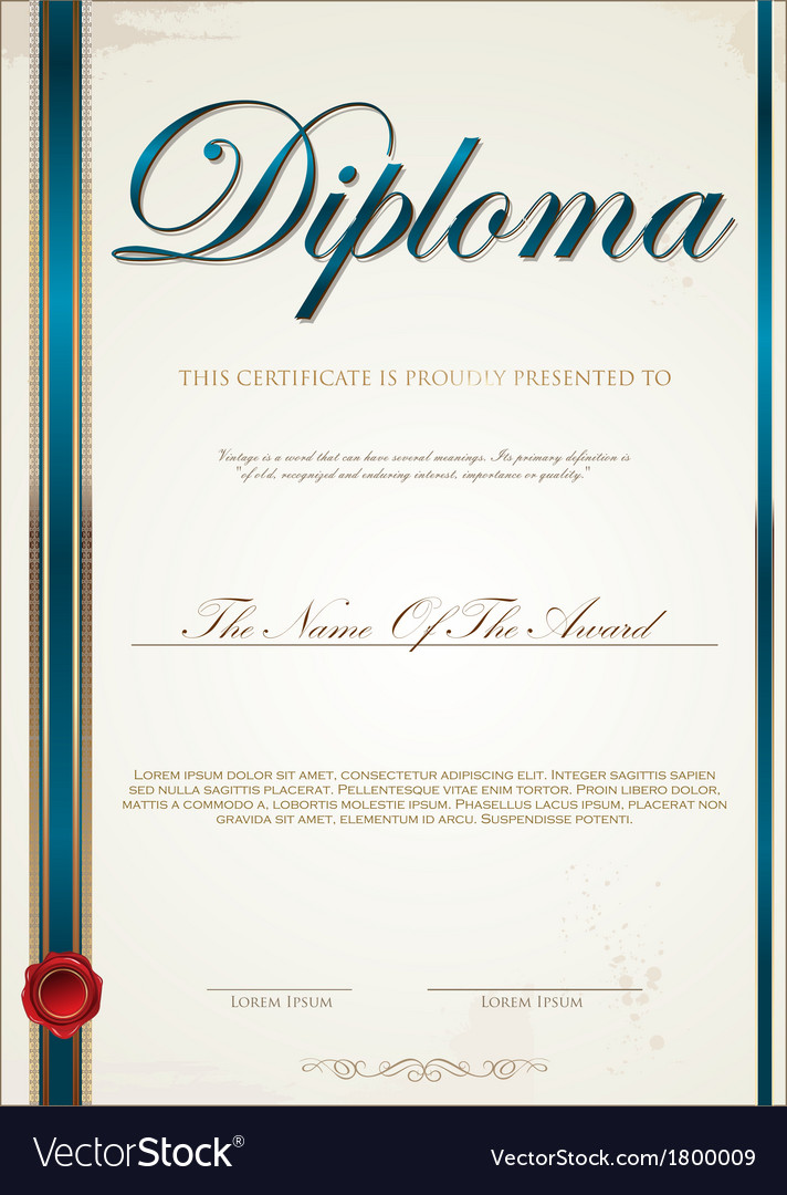 Blue Certificate Template Royalty Free Vector Image