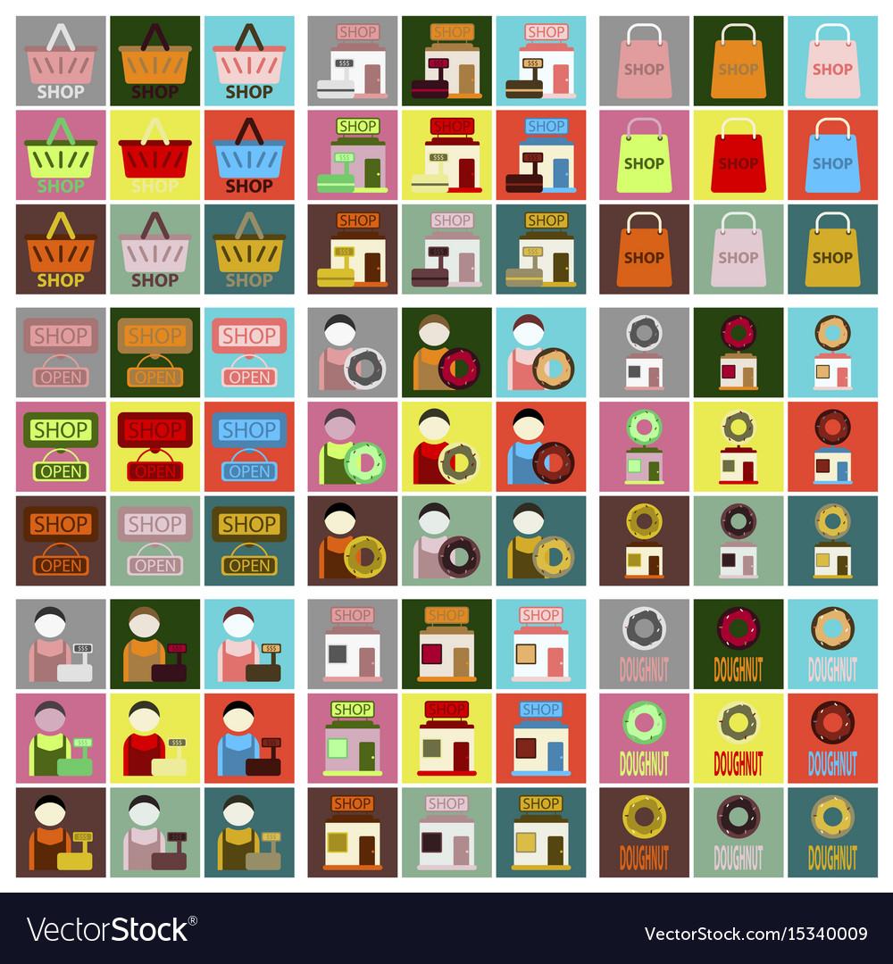 Flat icons set shop