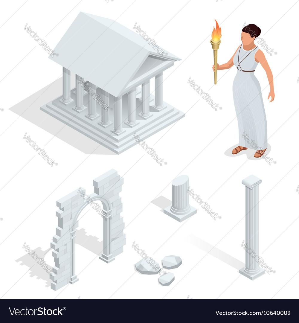 Isometric Greek temple Greek goddess of beauty