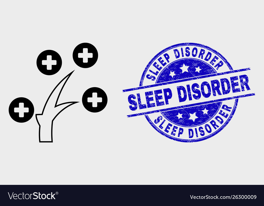 Line medical tree icon and grunge sleep