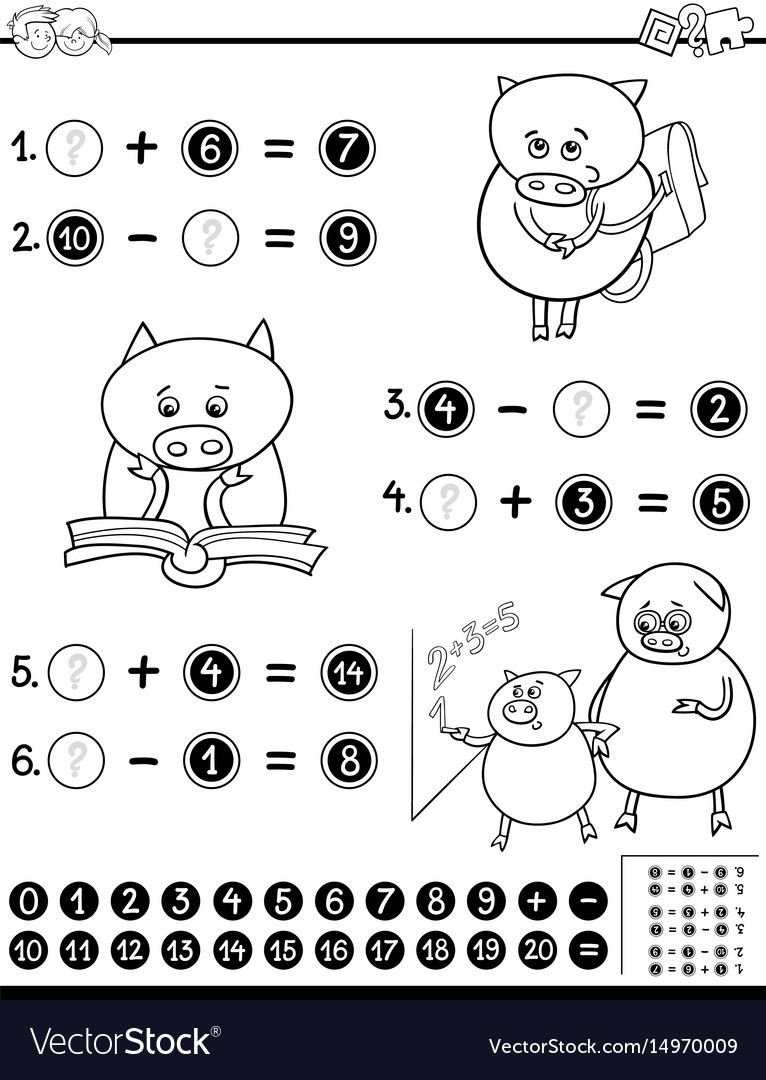 mathematical worksheet for coloring vector
