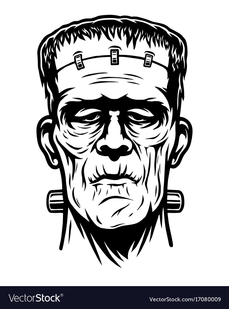 Black And White Art Vector Cartoon Frankenstein Wiring Diagrams 20022004 Ford F250 Curt T Connector Harness 55265 Monochrome Of Head Royalty Free Image Rh Vectorstock Com Vampire Bat