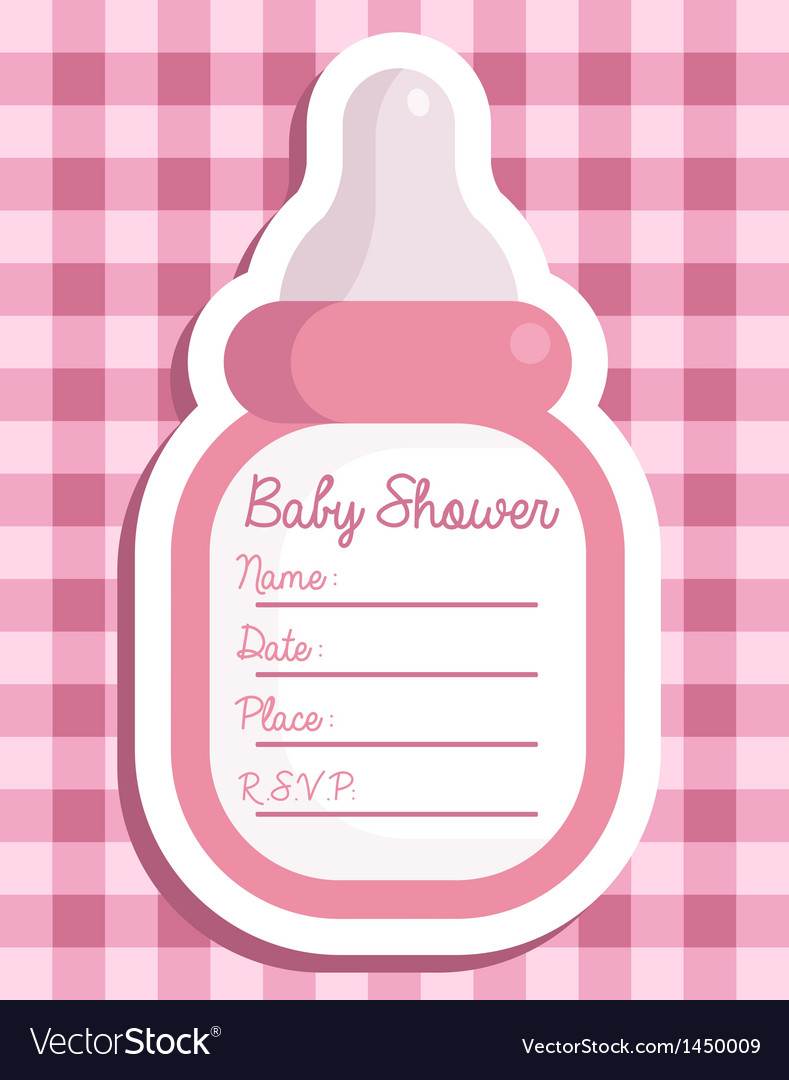 pink baby bottle invitation royalty free vector image