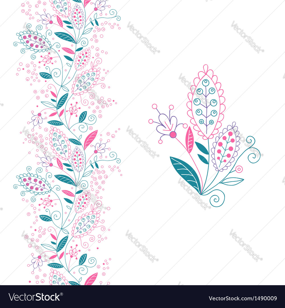 Seamless floral border and small bouquet