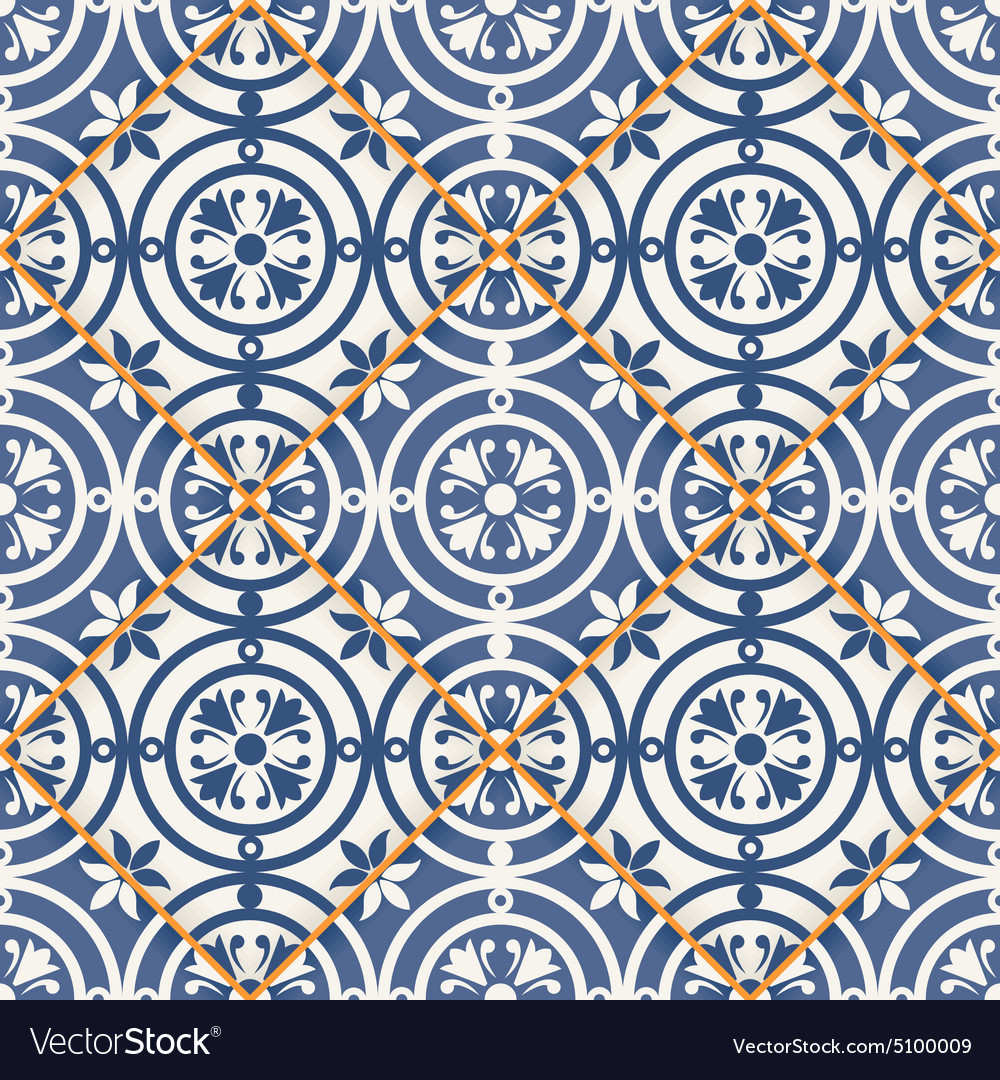 Seamless patchwork pattern Moroccan tiles Vector Image