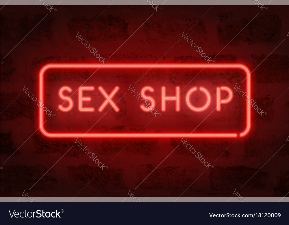 Sex shop neon red sign on the wall adult store
