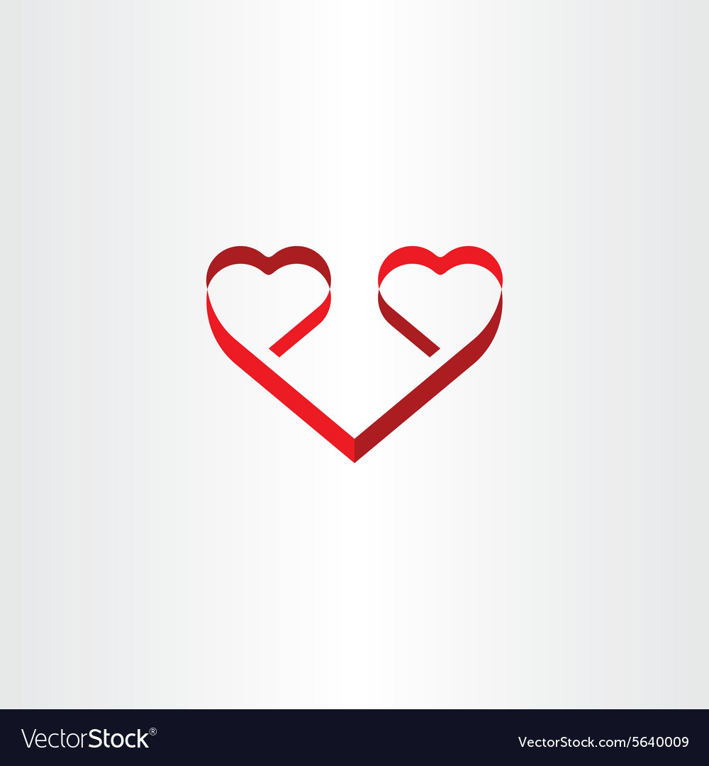 Stylized red ribbon heart shape love symbol
