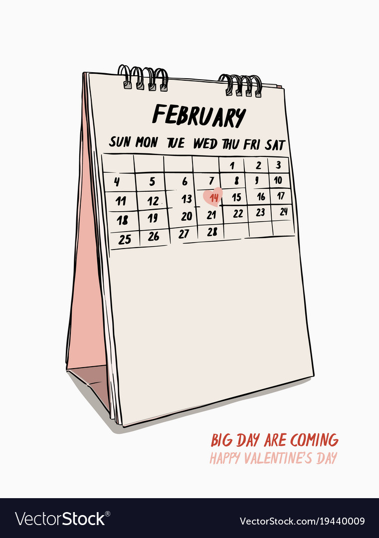 Valentines Day Hand Draw 14th February Calendar Vector Image