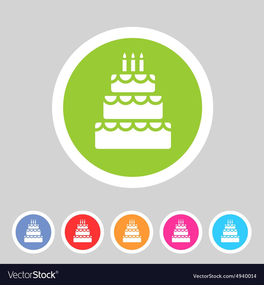 Birthday Cake Flat Icon Sign Symbol Logo Label Set
