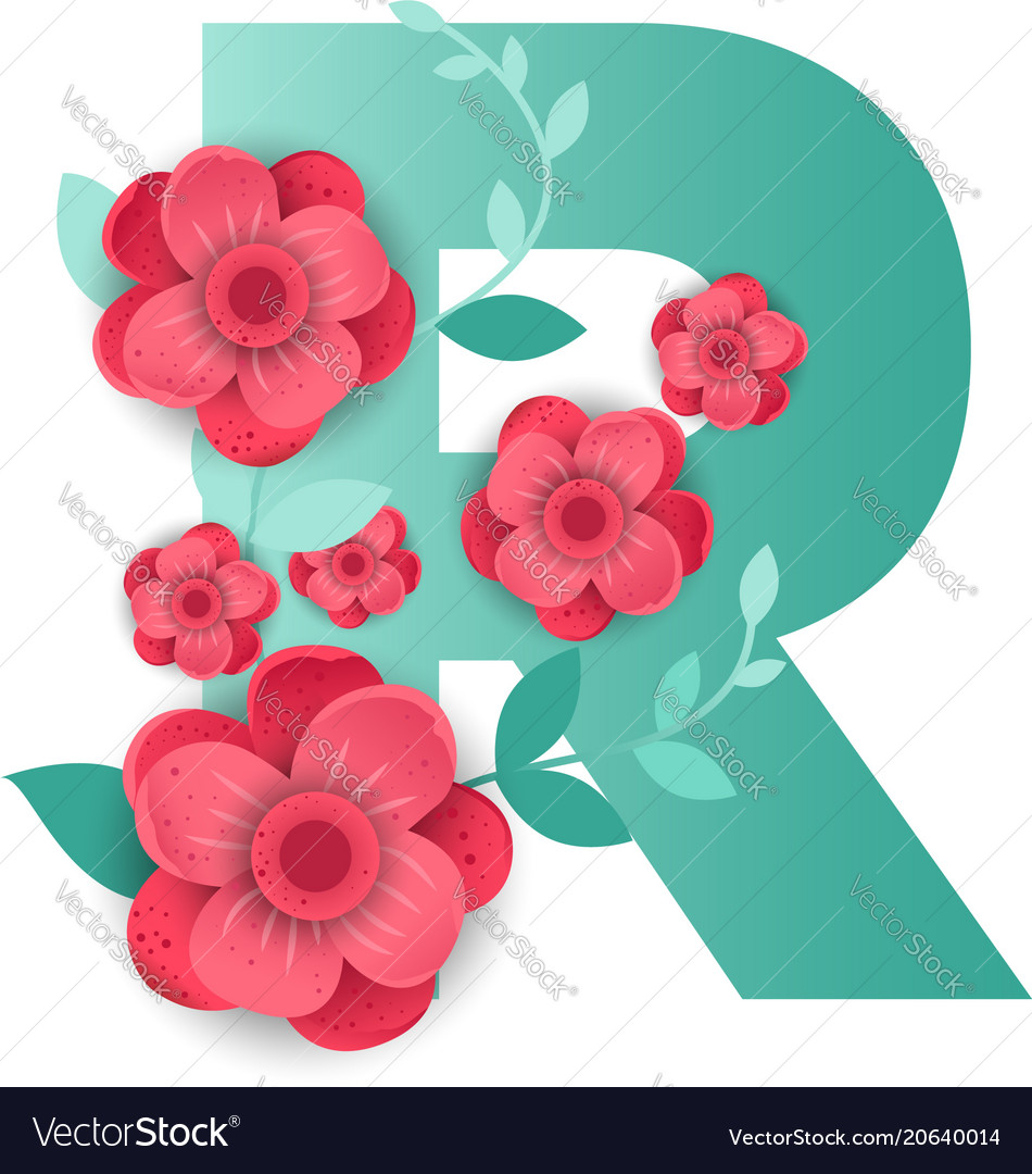 Color letter r with beautiful flowers royalty free vector color letter r with beautiful flowers vector image altavistaventures Choice Image