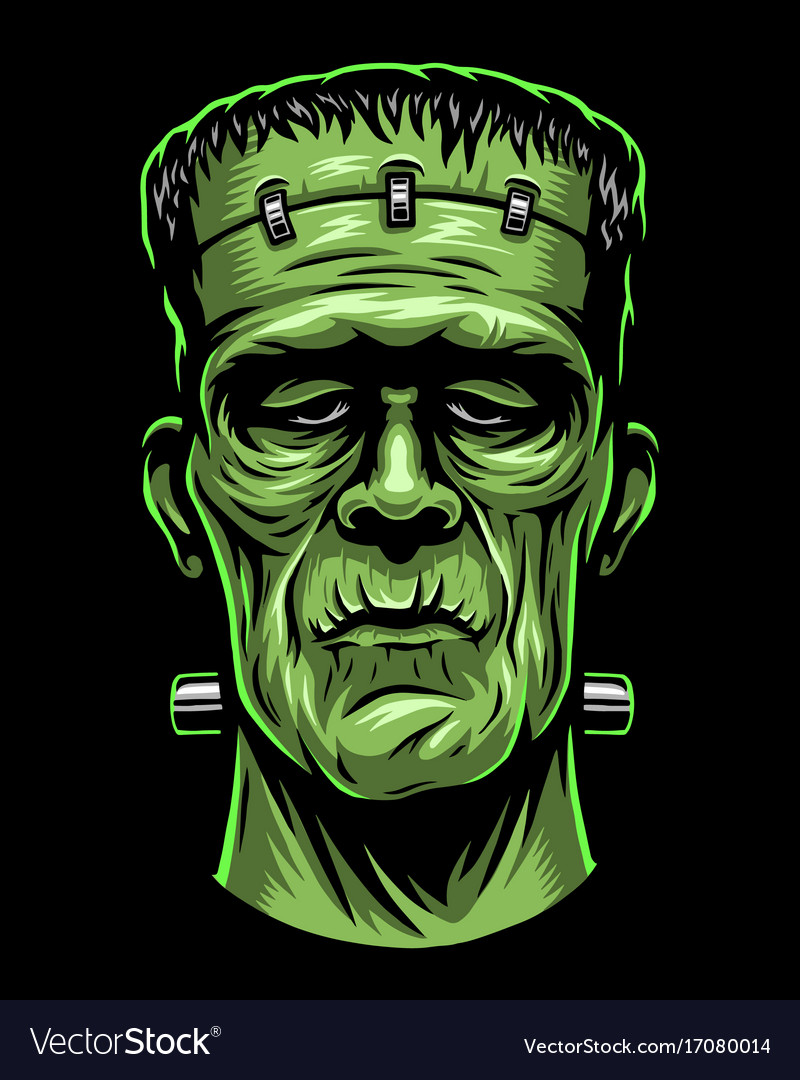 Color of frankenstein head vector image