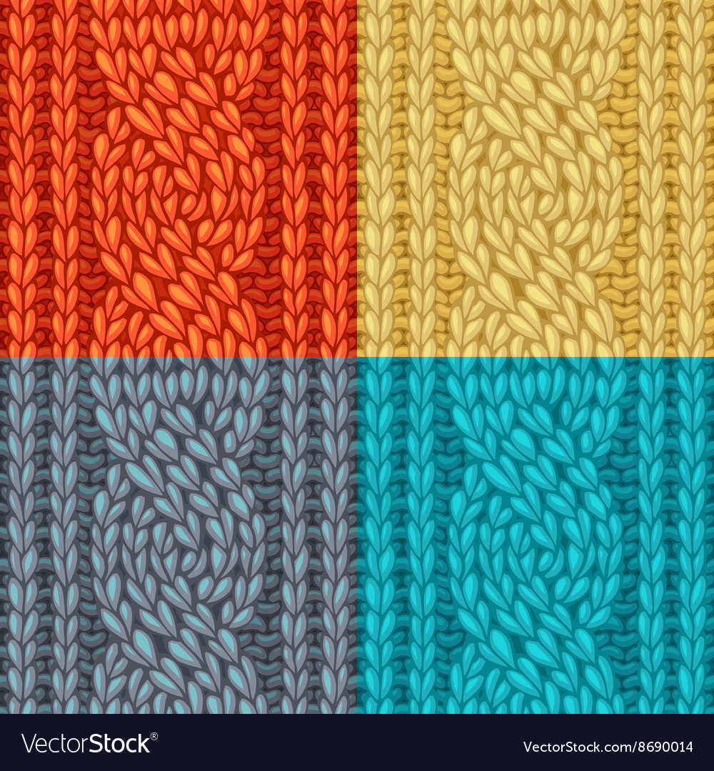 Colourful Six-Stitch Cable Stitch Textures vector image