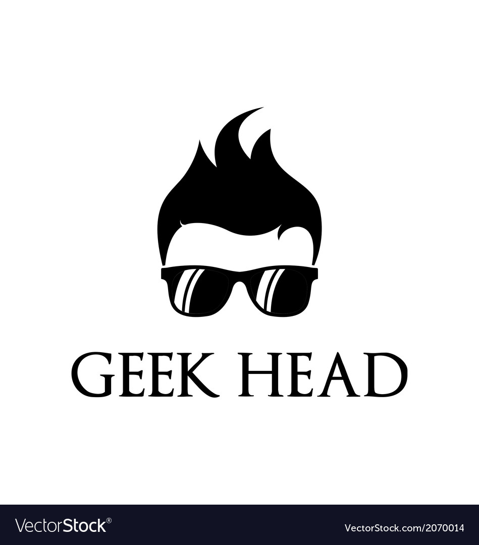 cool geek logo template royalty free vector image