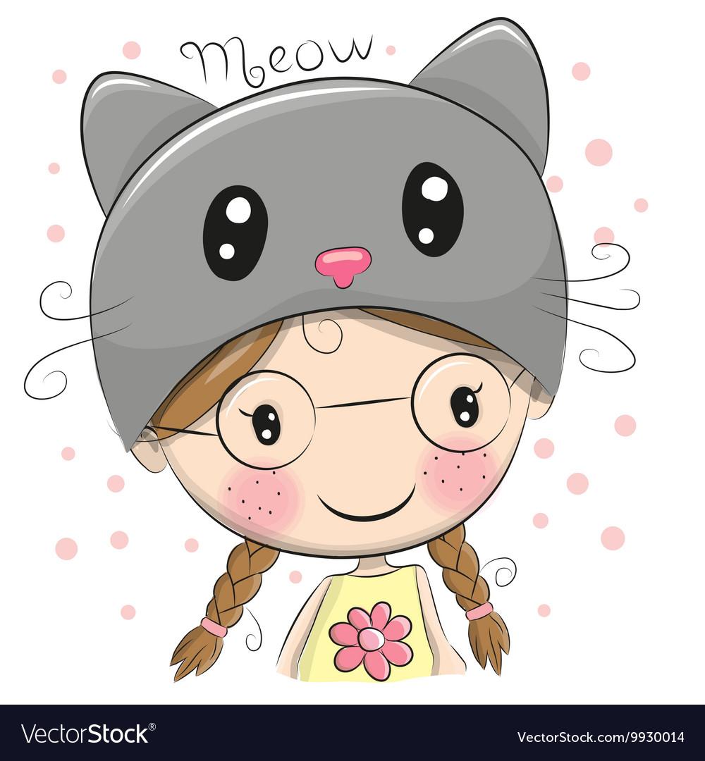 Cute Cartoon Girl Royalty Free Vector Image Vectorstock