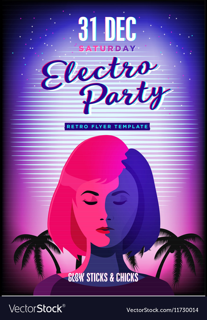 Electro party poster Retro 80s neon background