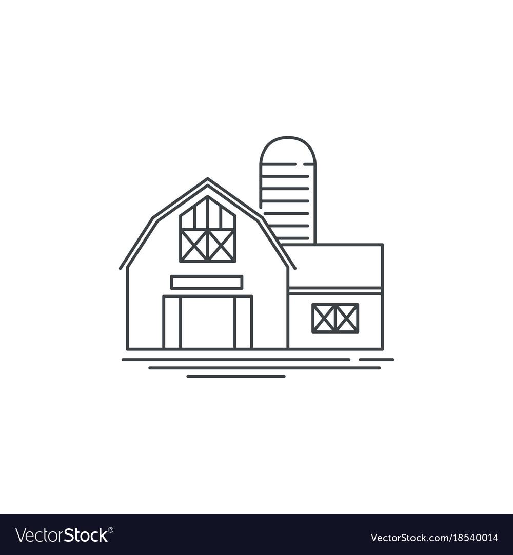 Farmhouse barn line icon outline of vector image