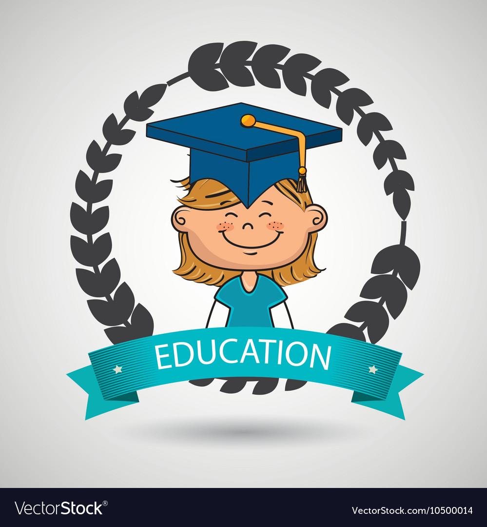 Girl student graduation icon
