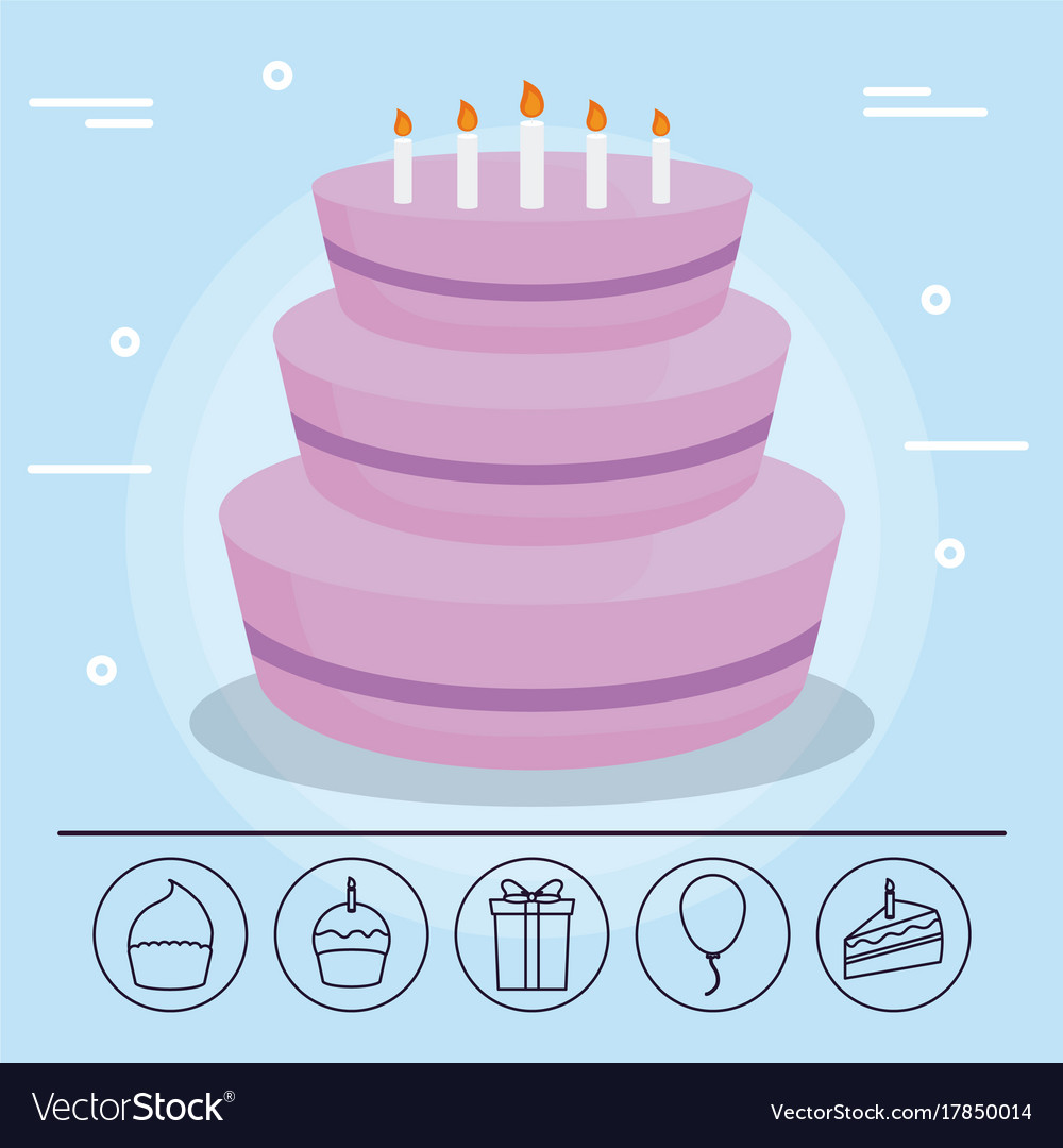 Happy Birthday Cake Design Royalty Free Vector Image