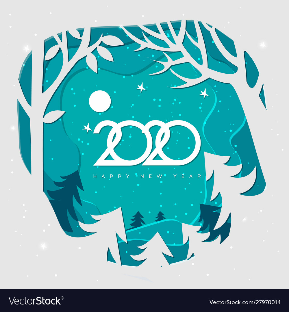 Merry christmas and happy new year 2020snow