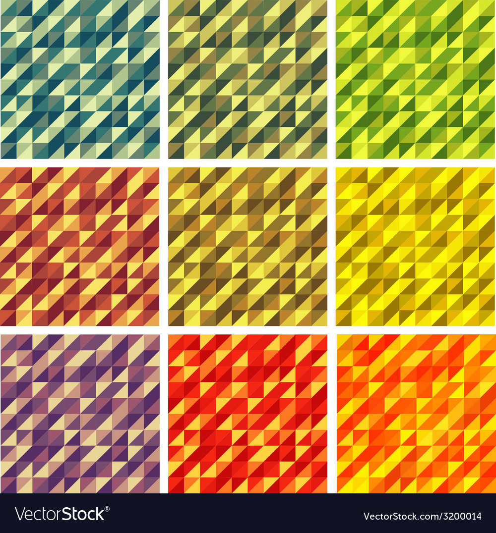 Set Colorful 9 Bright Geometric Backgrounds vector image