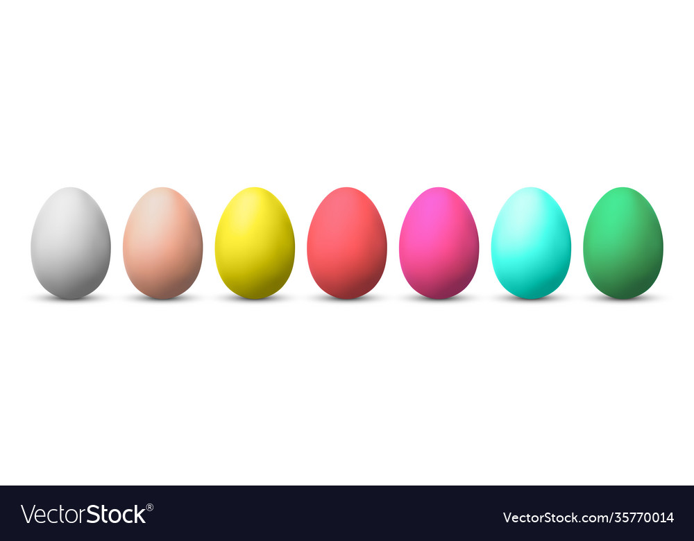 Set colorful eggs isolated on white background