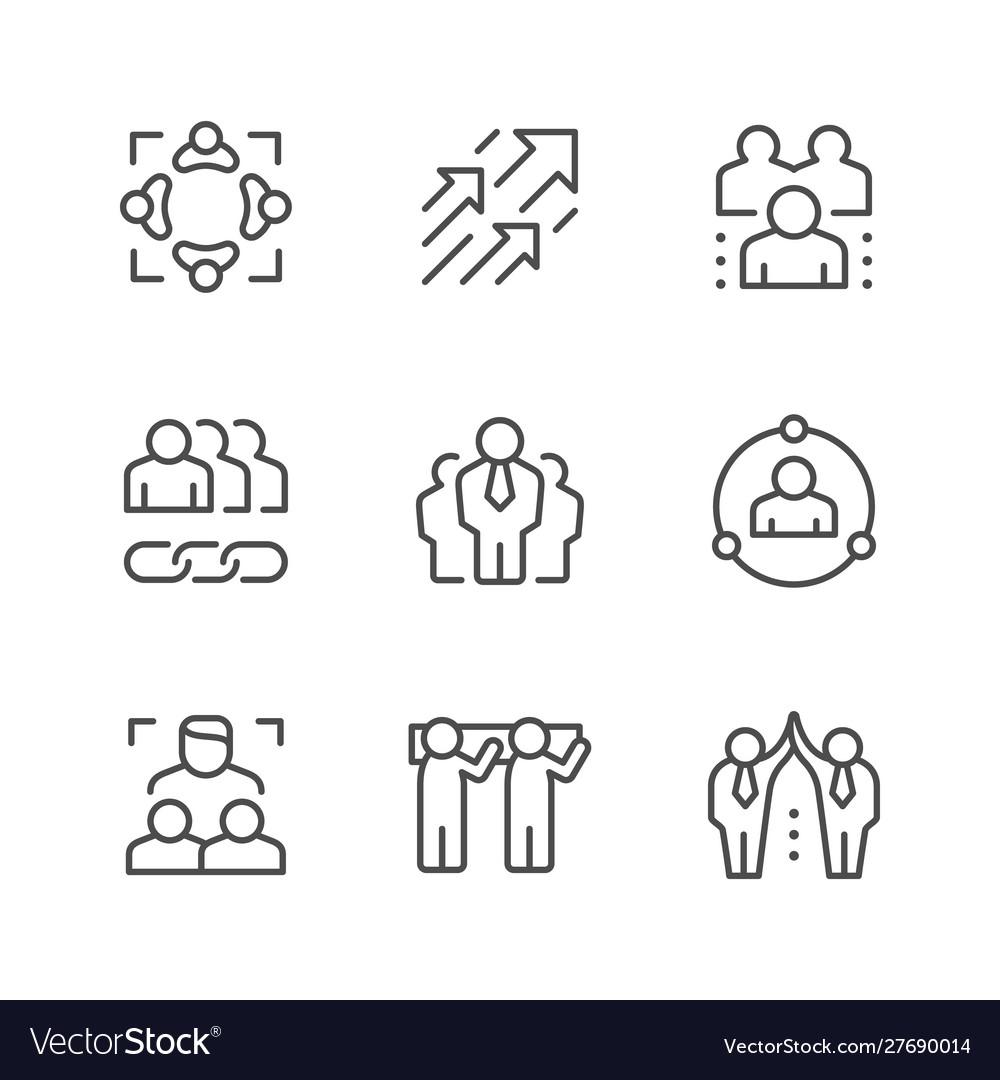 Set line icons teamwork
