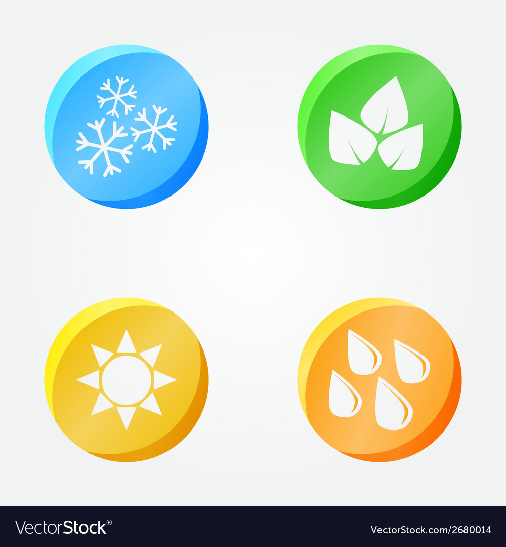 Symbols Of 4 Seasons Winter Spring Summer Autumn