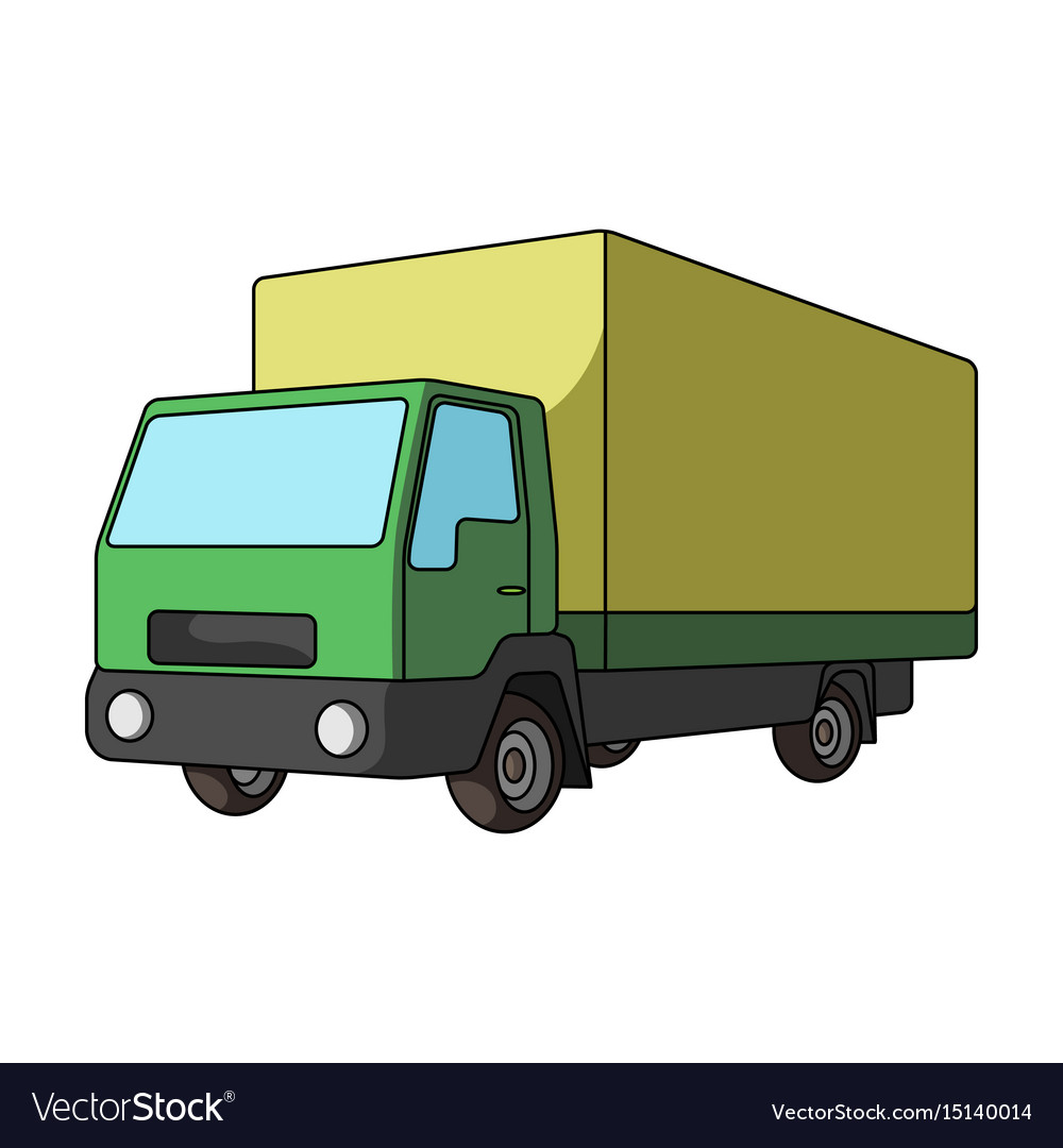 Truck with awningcar single icon in cartoon style